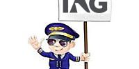 piloto avion con pancarta